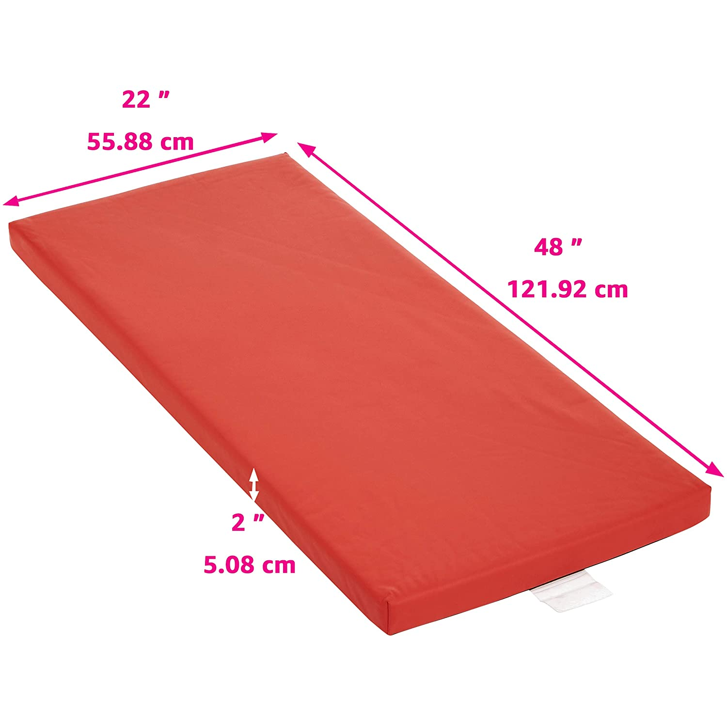 Basics Memory Foam Rest Nap Mats with Name Tag Holder Red 5-Pack