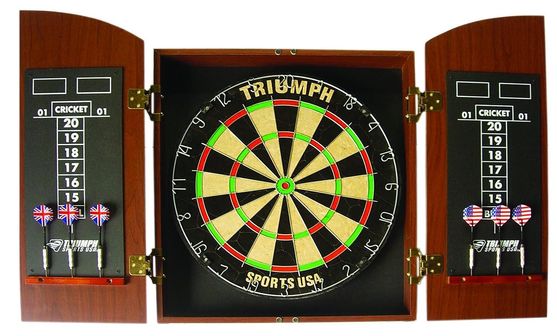 超格安一点 Triumph SportsラウンドトップBristle Dartboard木製キャビネットセット B005D19ZXE, エリモ町 1ce908c7