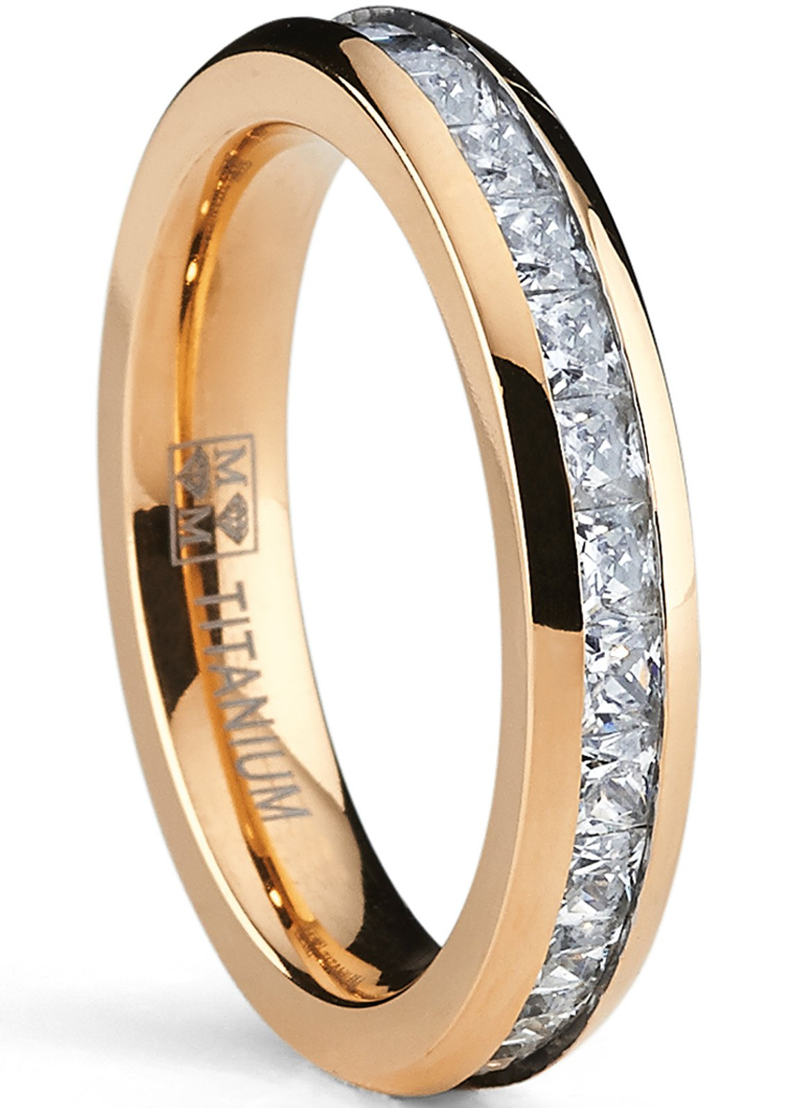 Metal Masters Co. 4MM Rose Plated Princess Cut Women's Eternity Titanium Ring Wedding Band with CZ Size 7.5