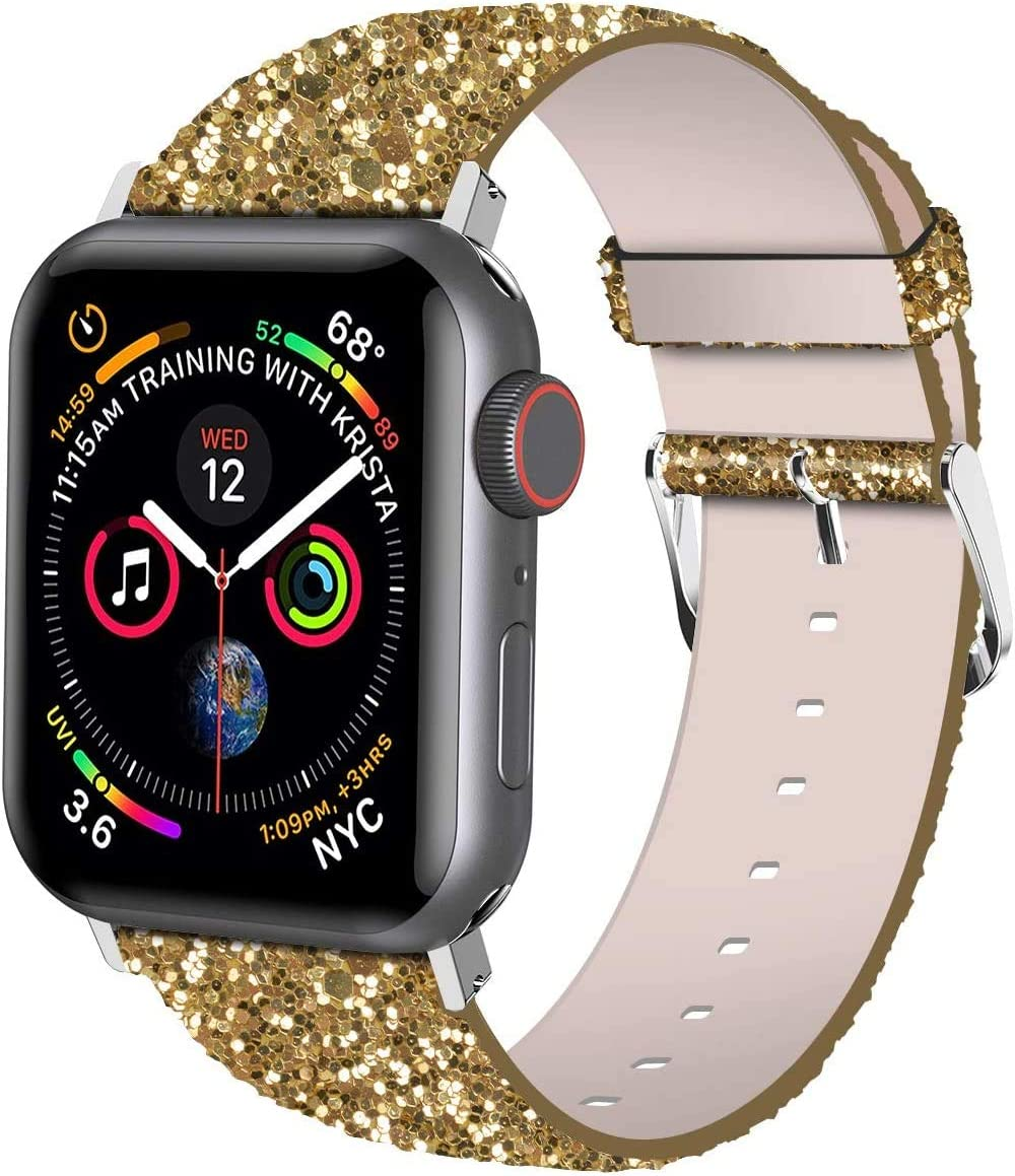 iiteeology Compatible with Apple Watch Band 38mm 40mm 42mm 44mm, Shiny Bling Glitter Leather Band for iWatch SE Series 6/5/4/3/2/1 Women Girls (Gold, 38mm)
