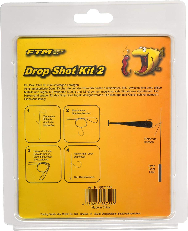 8 Poissons en Caoutchouc 8 Crochets 4 plombs pour p/êche /à la Barbe FTM Drop Shot Kit II app/âts Dropshot pour p/êche /à la Barbe leurres en Caoutchouc