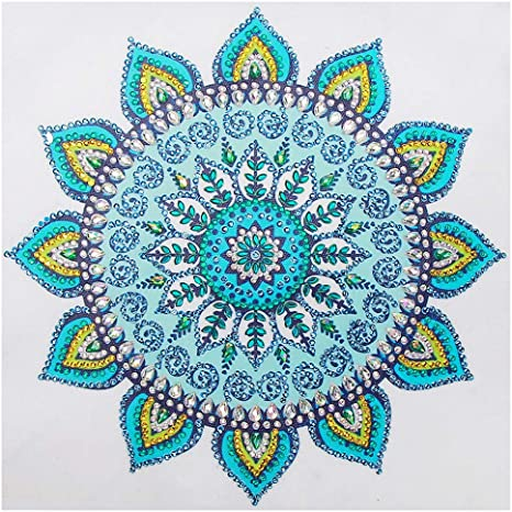 US Seller Diamond Painting Kit Special Shaped Partial Mandala Flowers 30x30cm