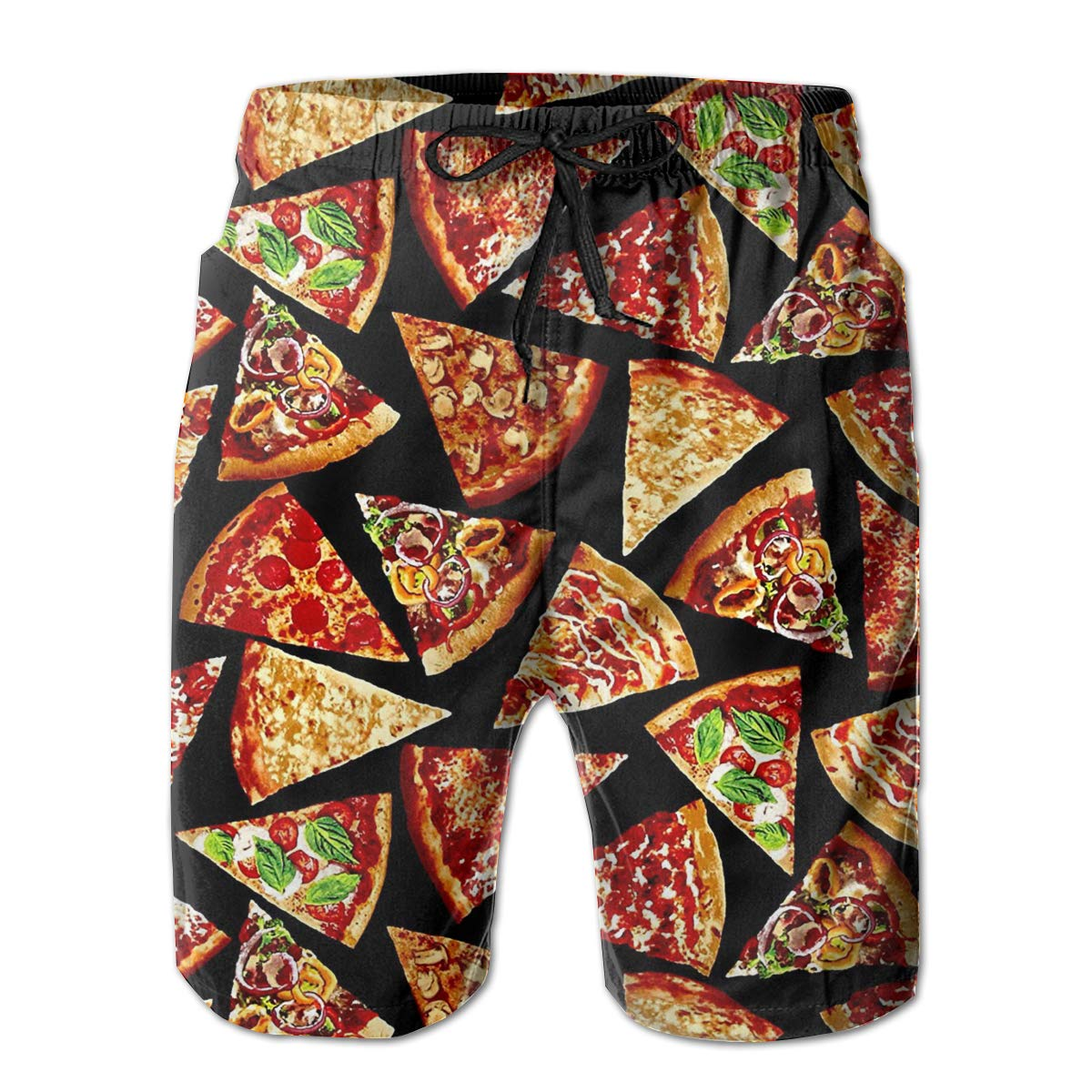 TR2YU7YT Foodie Pizza Slices Casual Mens Swim Trunks Quick Dry Printed Beach Shorts Summer Boardshorts Bathing Suits with Mesh Lining