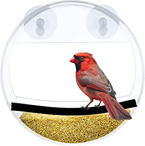 Acrylic Window Bird Feeder with Strong Suction Cup, Unique Round Design Bird House Feeder with Feed Tray for Wild Birds - NewCrea