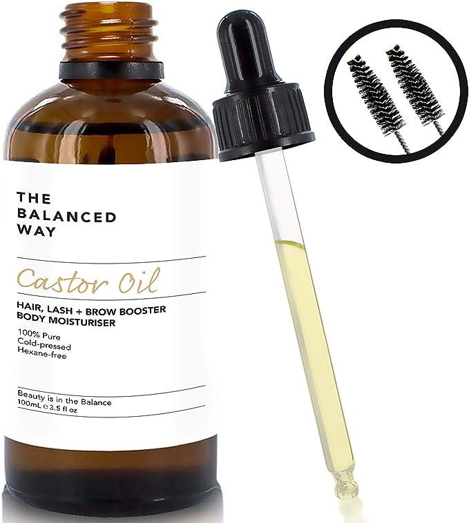 Puro aceite de ricino - prensado en frío, sin hexano - Aceite de ricino fortificante para el crecimiento del cabello, las pestañas y las cejas - Súper humectante antienvejecimiento 100ml: Amazon.es: Belleza