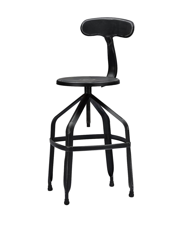 amazoncom baxton studio industrial bar stool with backrest gun metal kitchen u0026 dining