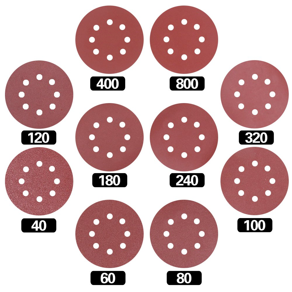 Swpeet 60 Pcs 10 Sizes 5 Inch 8 Hole Sanding Discs Sandpaper Hook and Loop Pads for Circular Sander Grits Sanding Sheets 10 Sizes - 40/60 / 80/100/ 120/180 / 240/320 / 400/800 Grits