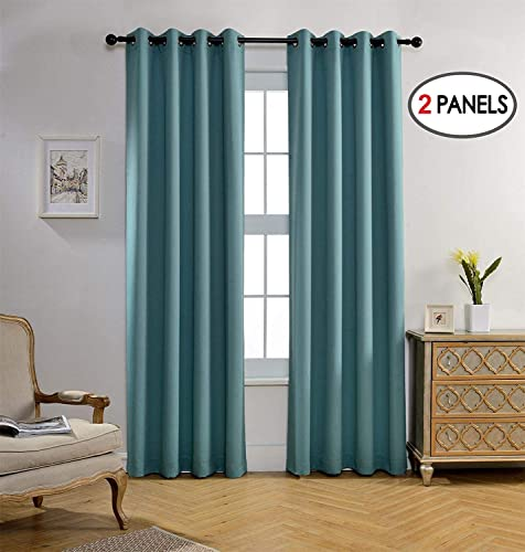 MIUCO Room Darkening Curtains Textured Grommet Thermal Insulated Blackout Curtains for Bedroom Set of 2 52×95 Inch Teal