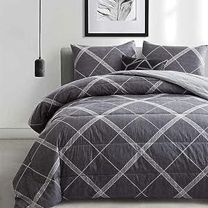 ATsense Comforter Set Queen, All Season 3-Piece 100% Cotton Fabric, Soft Microfiber Overfilled Bedding, Lightweight Reversible Duvet Insert (Grey, MY005)