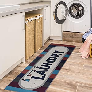 Carvapet Laundry Room Decorative Printed Runner Rug, Brown 20x59 Inch