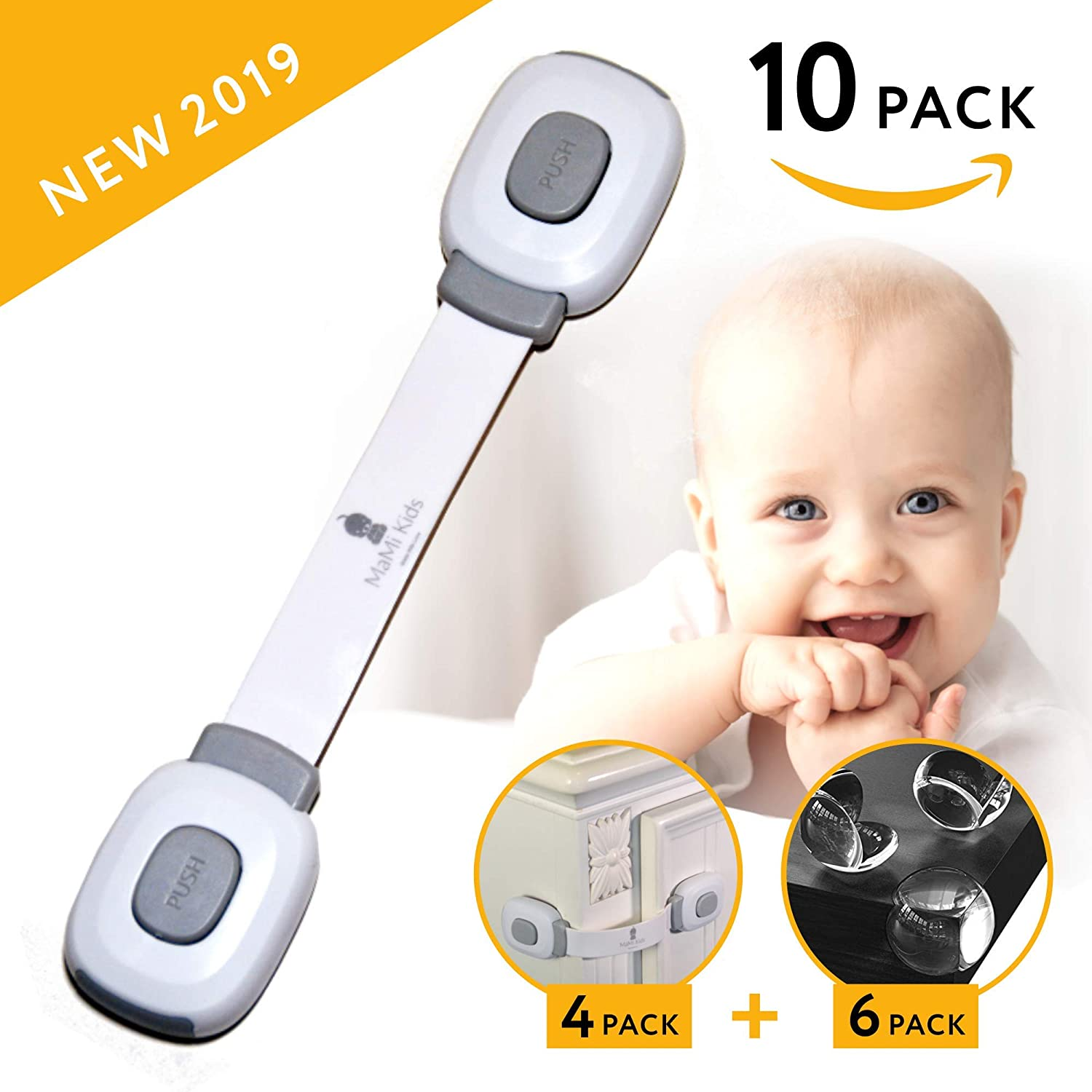 Baby Safety Cabinet Locks | Baby Proofing | Easy To Install | Cabinet Locks | Refrigerator Lock | Edge Protectors | Drawer Locks Child Safety | Door Locks for Kids | Door Latch (4 Locks + 6 Corners)