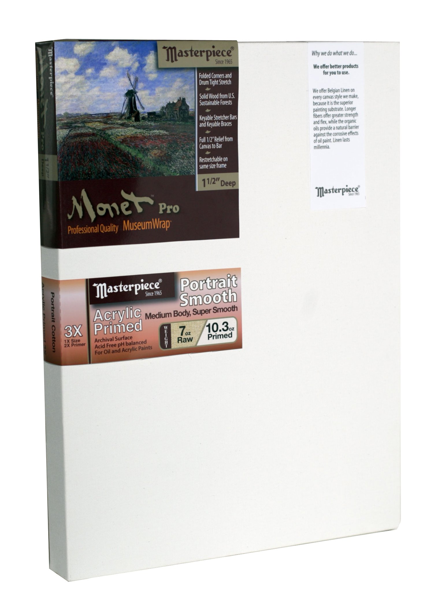 Masterpiece Artist Canvas 43269 Monet PRO 1-1/2'' Deep, 36'' x 48'', Cotton 10.3oz - 3X - Carmel Portrait Smooth