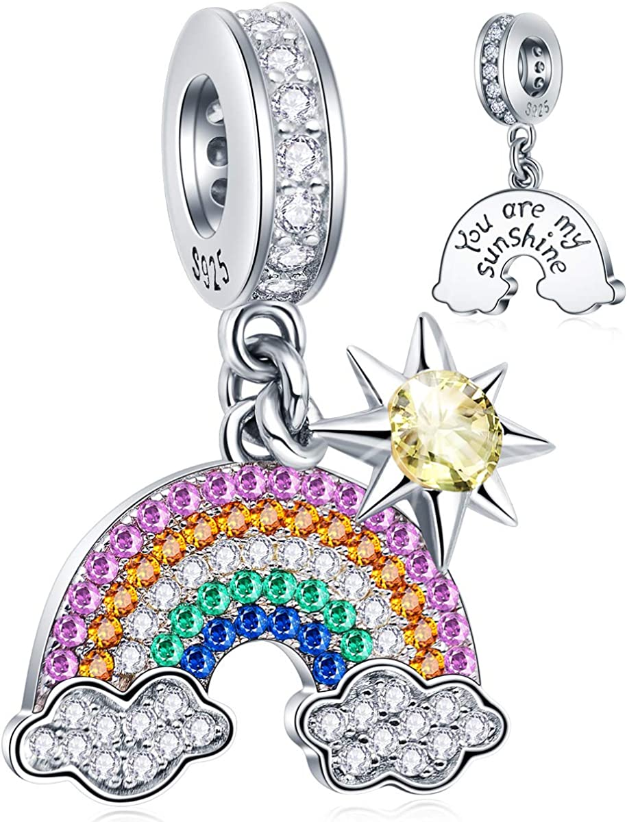 Reflexions Dazzling Rainbow Cloud and Sun with Colorful CZ Stones Charms in 925 Sterling Silver, You Are My Sunshine Engraved Pendant fits Pandora Women Bracelet, Gifts for Christmas/Mom