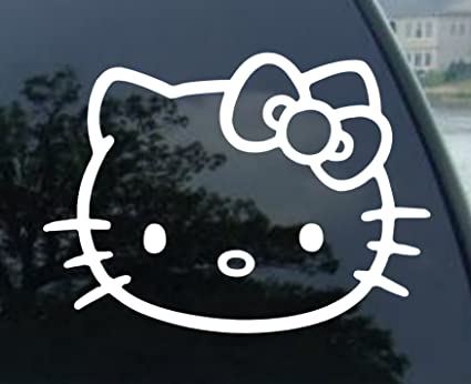 Window vinyl decal sticker wide 4 of hello kitty car color white