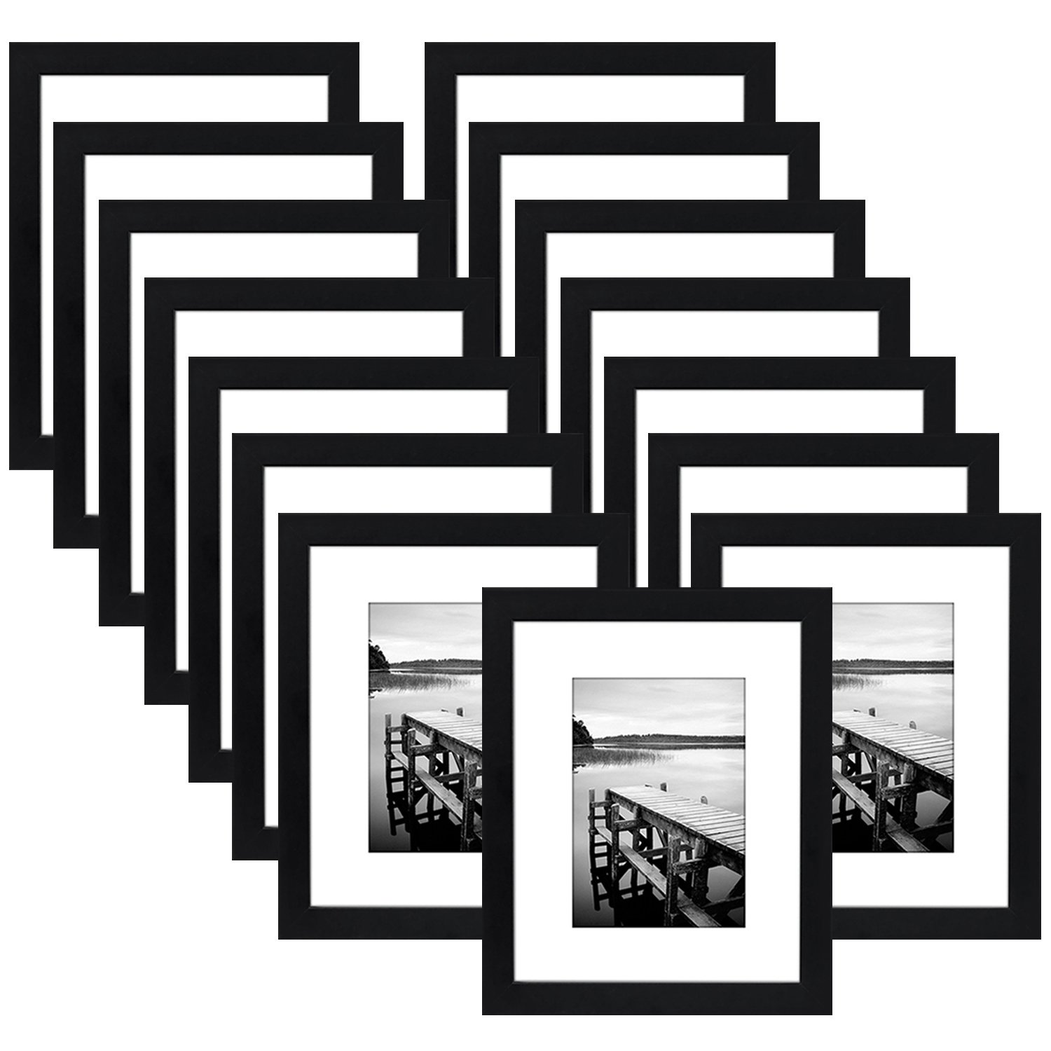 Americanflat 15 Pack - 8x10 Black Picture Frame - Made to Display Pictures 5x7 with Mat or 8x10 Without Mat