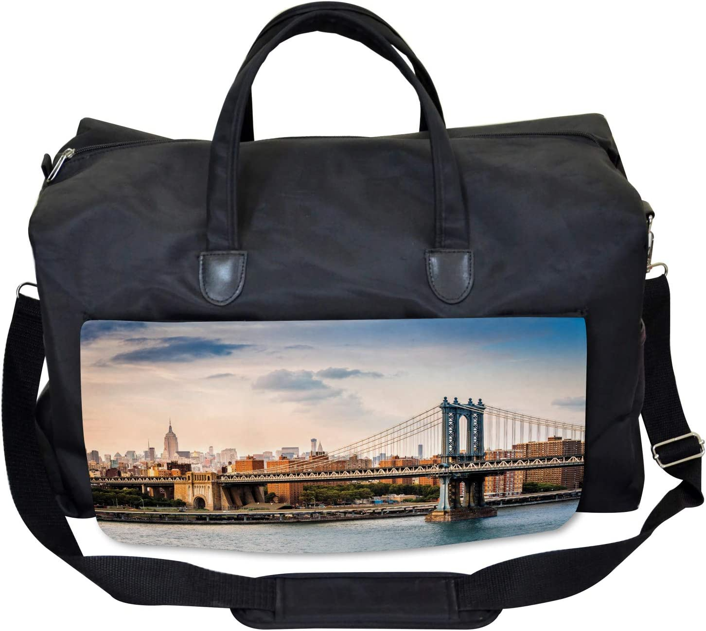 Manhattan Bridge in NYC Large Weekender Carry-on Ambesonne USA Gym Bag