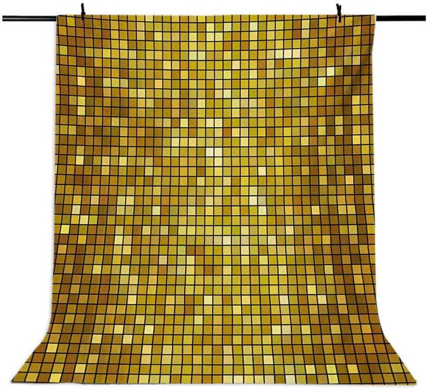 Ombre Design with Mosaic Like Image with Square Details Artwork Print Background for Party Home Decor Outdoorsy Theme Vinyl Shoot Props Marigold and Yellow Geometric 6.5x10 FT Photography Backdrop