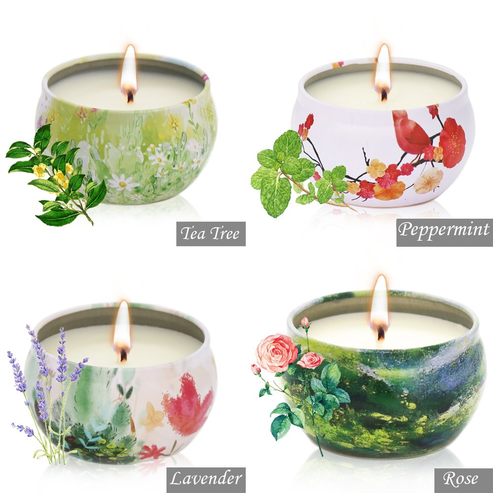 Scented Candles Lavender, Rose, Tea Tree and Peppermint,Natural Soy Wax Portable Travel Tin Candle,Set Gift of 4 by YIH (Image #2)