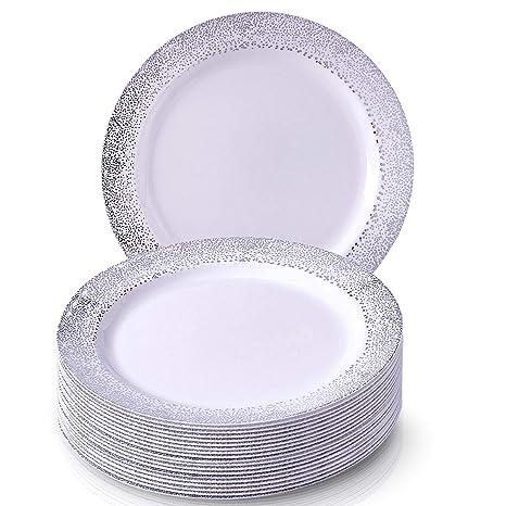 VAJILLA PARA FIESTAS DESECHABLE DE 20 PIEZAS | 20 platos grandes | Platos de plástico resistente