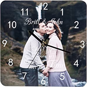 Kaululu Personalized Photo Wall Clock(10'' Square Wall Clock),Custom 1 Photos Clock for Family/Friends,Design Your Own Wall Clock Silent,Home Decor Bedroom Wall Clock,Unique Decor Home Wall