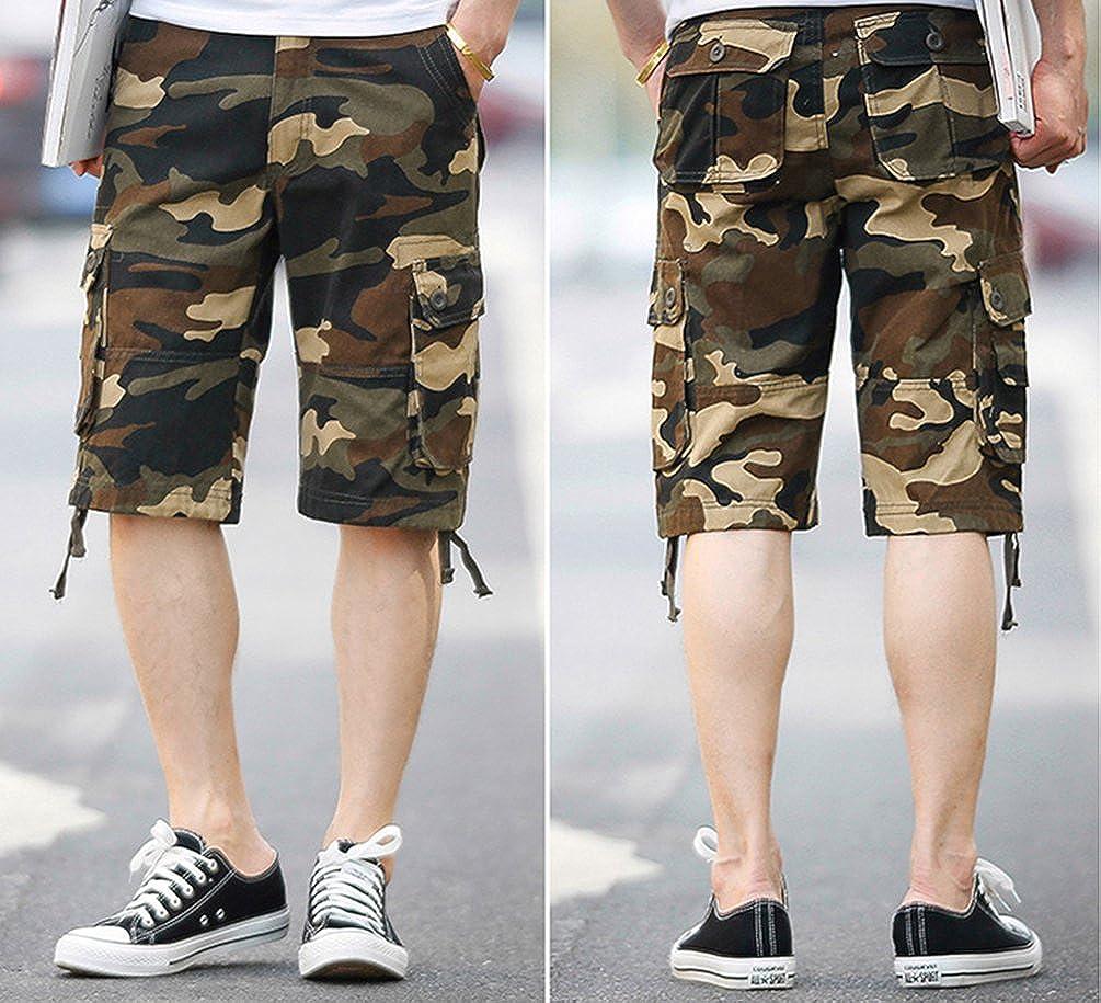 Xinwcang Pantaloncini Cargo da Mimetici da Uomo Vintage Bermuda Shorts Chino Pantaloni Corti con Tasconi Laterali Elasticizzato Sportivi Regular Fit