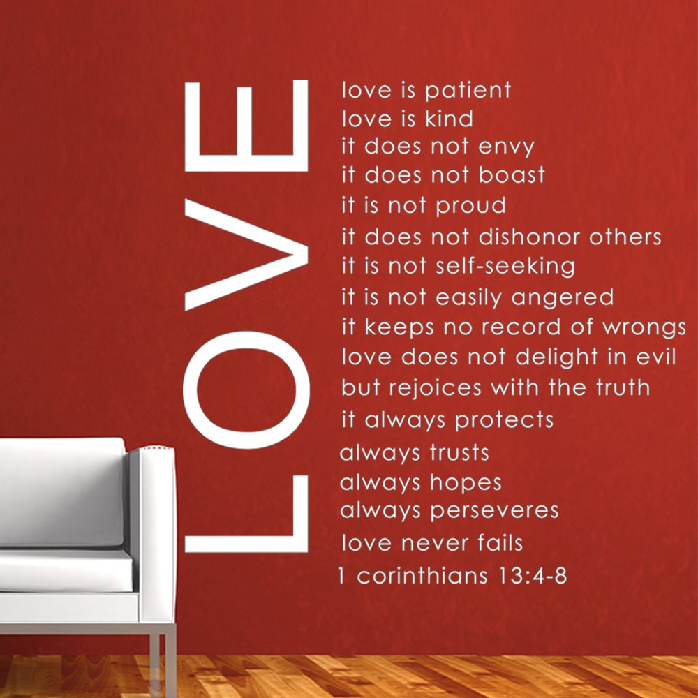 Love is Patient Love is Kind - Bible Quote - Removable Vinyl Wall ...