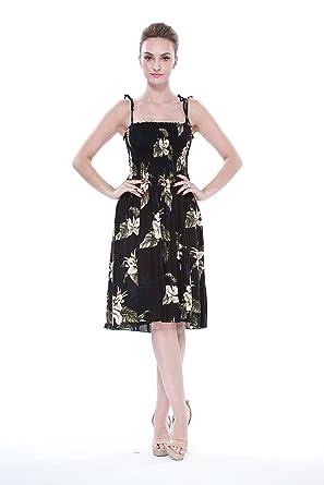 Hula Hula Batik Tropical Groups Womens Hawaiian Elastic Strap Dress Black With Floral ...