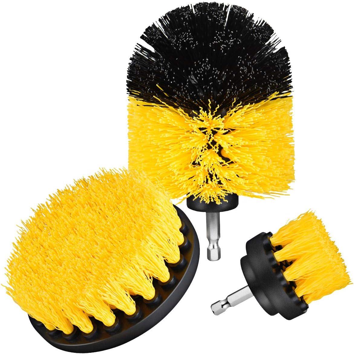 3 Pcs Nylon Drill Powered Cleaning Brushes Kit for Bathroom Surface Tub All Purpose Power Scrubber Cleaning Brush Kit Tire Toilet,Bathtub Kitchen,Tile Holife Drillbrush