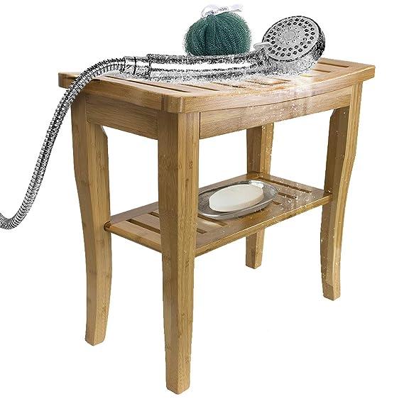 Amazon.com: Sorbus - Taburete de baño de bambú con estante ...