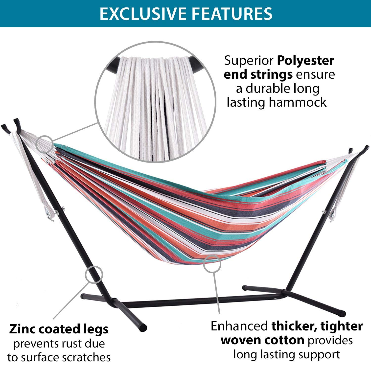 Vivere Double Cotton Hammock with Space Saving Steel Stand, Plumeria 450 lb Capacity – Premium Carry Bag Included Renewed