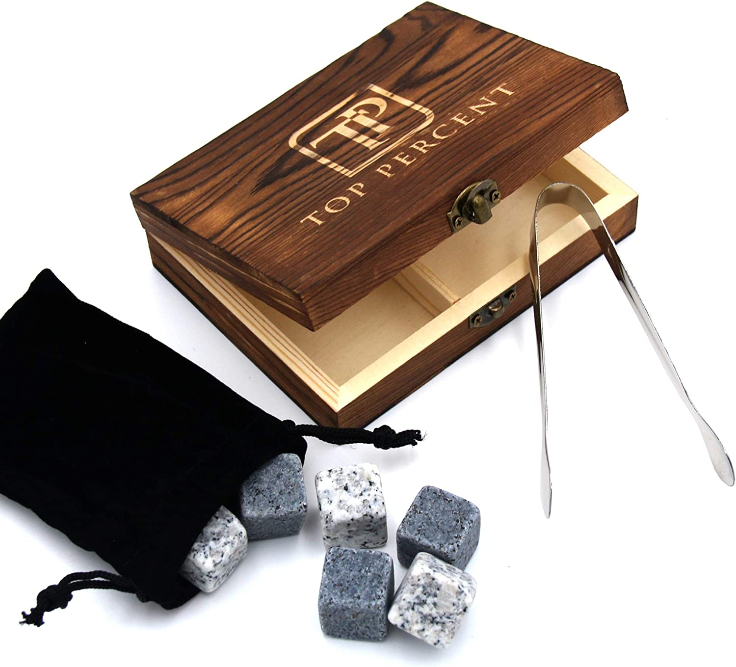 Whiskey Stone Gift Box set with 9 Premium Granite Stones (Won't Water Down Your Drink!), Wooden Box, Velvet Carrying Bag and Tongs (Natural Grey)