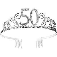 Tiara Cumpleaños Corona 50TH con Peine Artículos de Fiesta y Decoraciones Accesorios Plata Cristal Diademas Mujer…