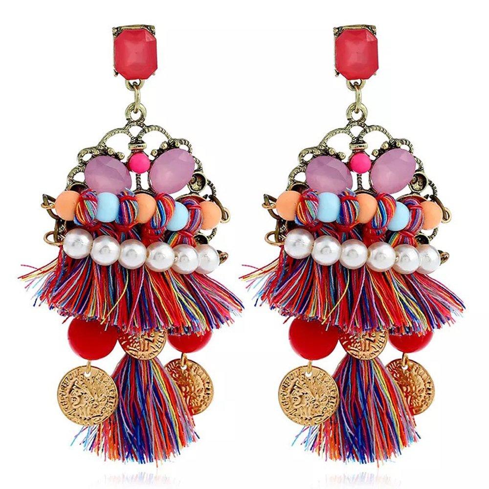 jiux Women Earrings National Style Bohemian Style Handmade Classic Retro Tassels Eardrop