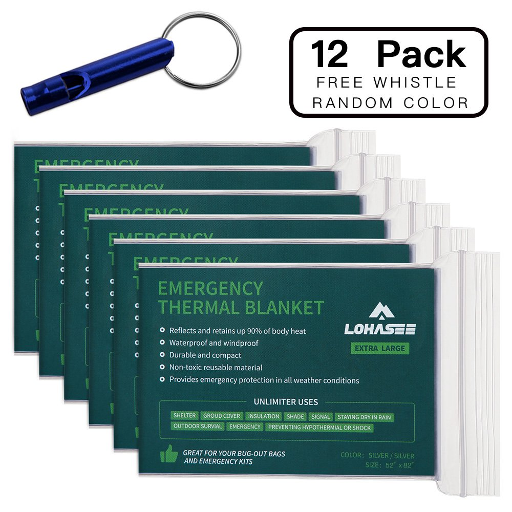 LOHASEE Emergency Foil Mylar Thermal Blanket, Survival Space Blankets Silver for Disaster Preparedness, Outdoors Camping, Bug Out Bag, Hiking, Marathons First Aid (82'' X 52'', 12 Pack)