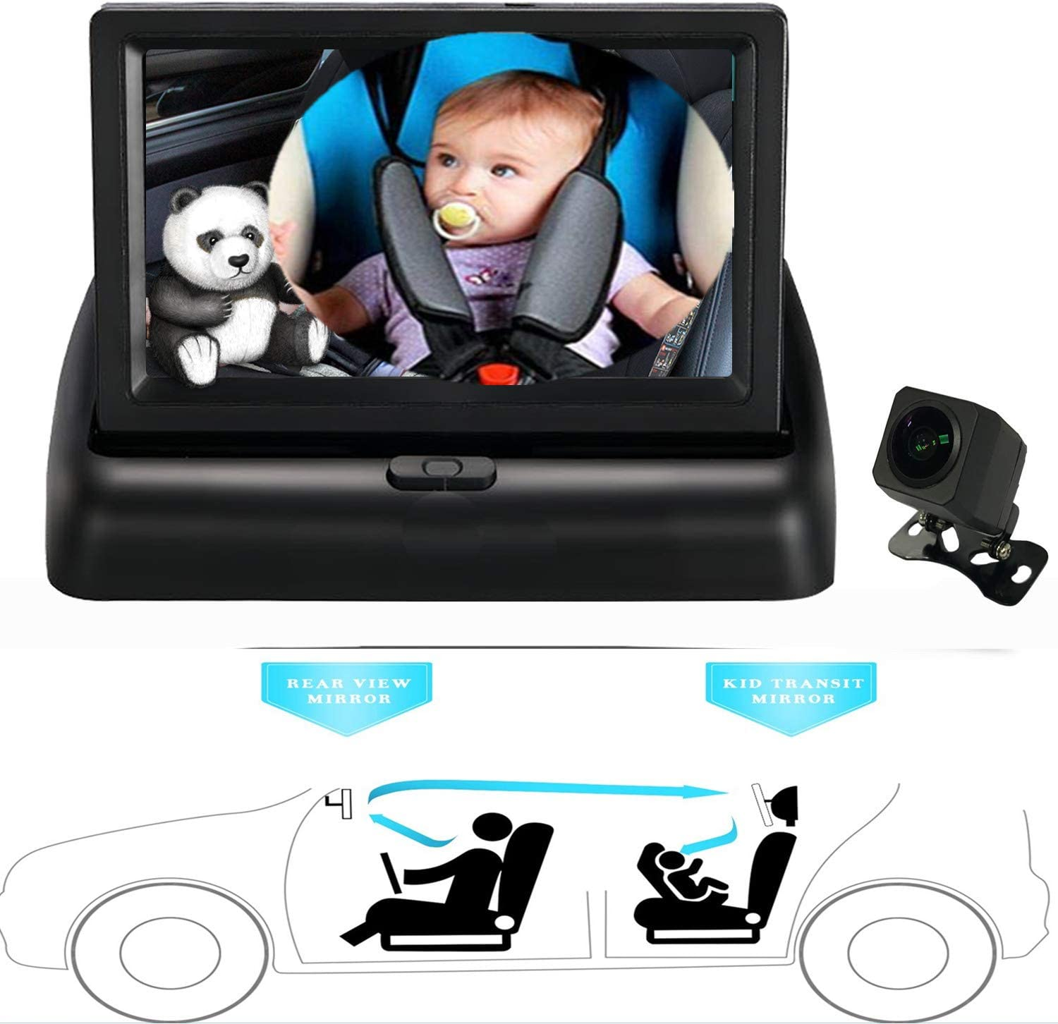 Kiddiezoom Baby Car Mirror View Infant in Rear Facing Seat with Wide Crystal Clear View,Night Vision,Camera Aimed at Baby-Easily to Observe The Babys Every Move