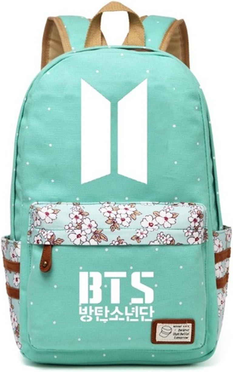 JUSTGOGO Korean Casual Backpack Daypack Laptop Bag College Bag Book Bag School Bag (Green 4)