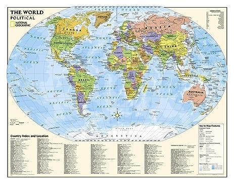 Amazon laminated national geographic laminated kids laminated national geographic laminated kids political world education map grades 4 12 gumiabroncs Image collections
