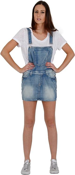 Mini Dungaree Dress Faded Distressed Denim Pinafore Ladies Overall Dress