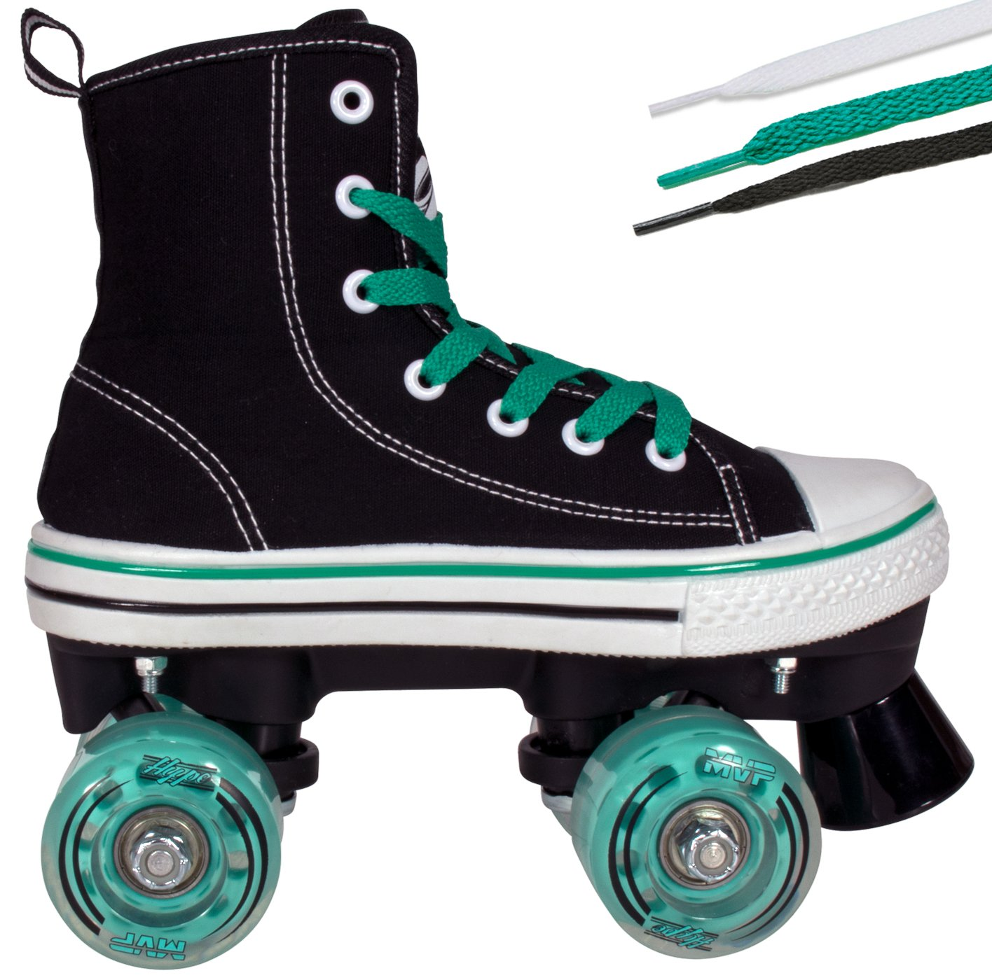Hype Roller Skates for Girls and Boys MVP Kid's Unisex Quad Roller Skates with High Top Shoe Style for Indoor/Outdoor (Black & Teal, 5)