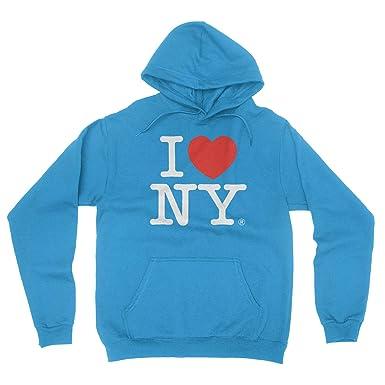 50087386f I Love NY New York Hoodie Screen Print Heart Sweatshirt Turquoise Small