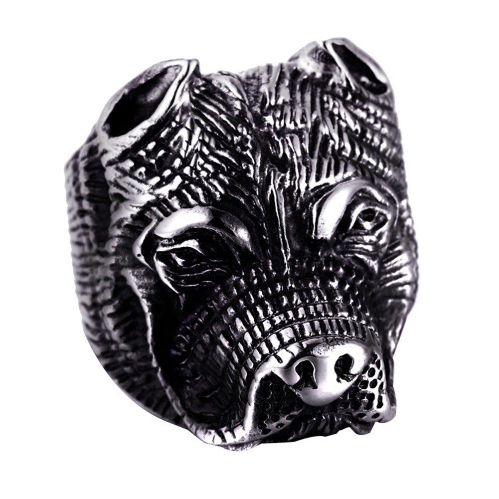 JAJAFOOK punk ragazzi da uomo anello Pitbull Bulldog animale in acciaio INOX 316L HipHop, taglia 8–12 taglia 8-12