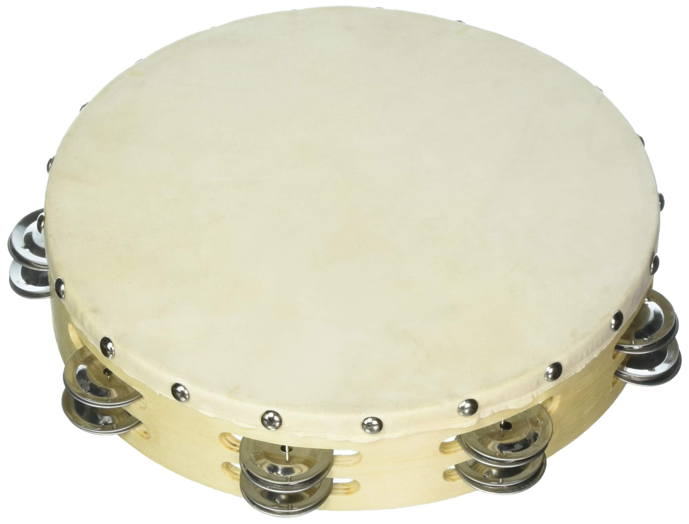 Grover/Trophy B310D Tambourines with Non-Replaceable Skin Head - 10'' Double Row