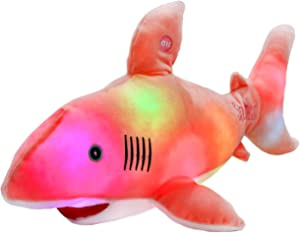 Bstaofy LED Shark Stuffed Animal Glow Plush Ocean Species Toy Night Lights Birthday for Kids, 20 Inches (Pink)