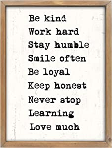 Wartter 11.8 x 15.8 inches Rustic Wood Framed Wall Decor Signs Farmhouse Wall Hanging Art - Be Kind, Stay Humble,Smile Often.
