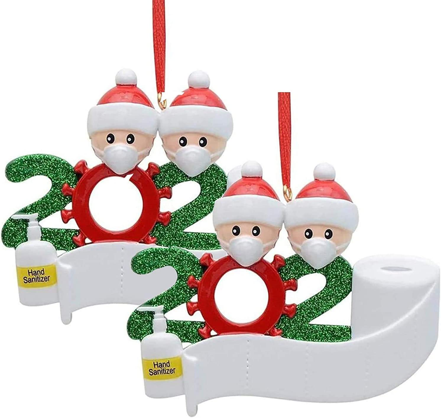 2020 Personalized Christmas Ornaments Kit, Newest Theme DIY Name 2 Family Members Creative Gift Christmas Decorations for Home Indoor Outdoor Christmas Decor (2 Packs)