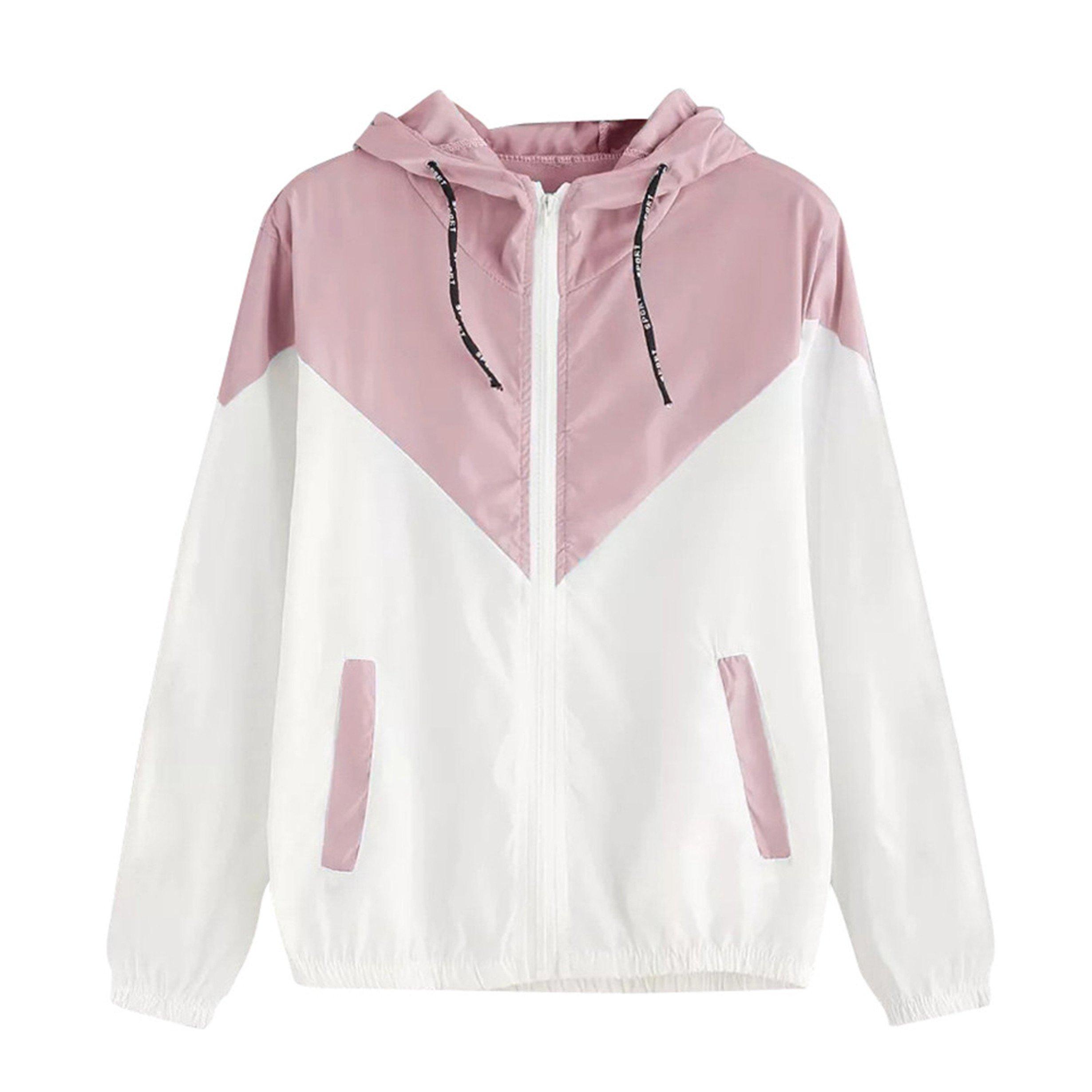 Londony Women's Plus Size Color Block Drawstring Active Outdoor Hooded Lightweight Rain Jacket Windbreaker