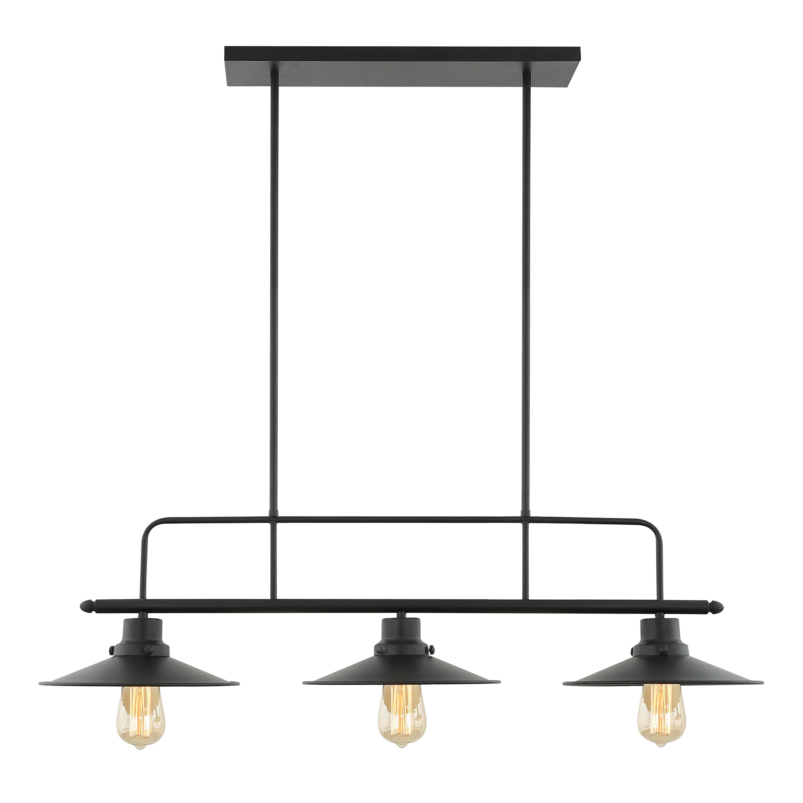 Light Society Margaux 3-Light Kitchen Island Pendant, Matte Black, Vintage Modern Industrial Chandelier (LS-C114) by Light Society (Image #1)