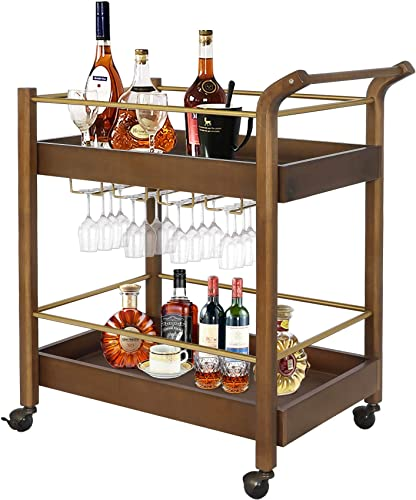 LAZZO Bar Serving Cart, Home Kitchen Wine Cart with Goblet Glass Holder, Handle Rack, Spherical Wheels Rolling, 2 Wood Metal Stroage Shelves, Rustic Mobile Serving Trolley for Home Restaurant, Brown