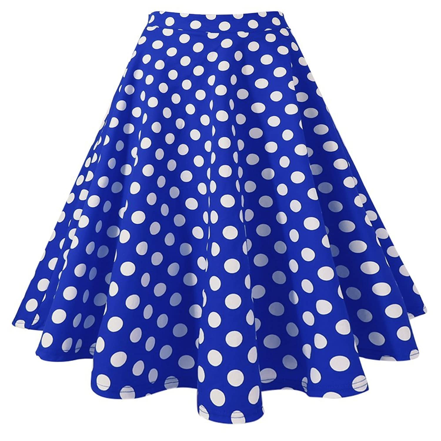 MIOIM® Damen Rock High Waist Knielang Skirt Sommerkleid A-linien Röcke Retro Polka Faltenrock Cocktail Party Kleider