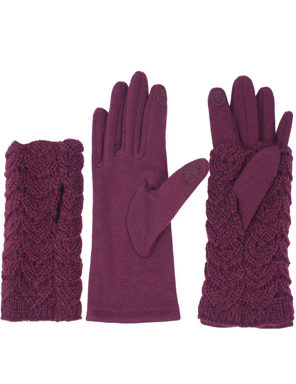Dahlia Women's Lined Touchscreen Gloves - 2 in 1 Hand Warmer Gloves - Burgundy